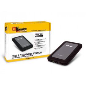 Hamlet USB 3.0 Mirror Disk box esterno per hard disk SATA da 2,5'' nero
