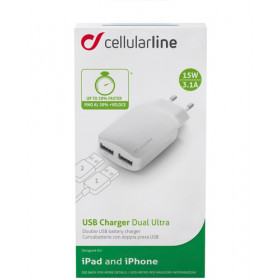 Cellularline USB Charger Dual Ultra - iPad And iPhone Caricabatterie veloce a 15W per due dispositivi Bianco
