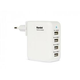 Hamlet Travel Charger Alimentatore USB da parete 4 porte con adattatori per 150 paesi