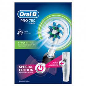Oral-B PRO 750 CrossAction Adulto Spazzolino rotante-oscillante Nero, Bianco