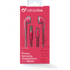 Cellularline Butterfly - Universale Auricolari a filo super colorati Rosa