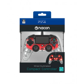 NACON PS4OFCPADCLRED Gamepad PlayStation 4 Rosso, Trasparente periferica di gioco