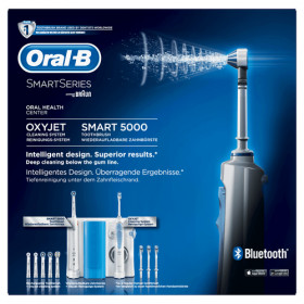 Oral-B Smart 5000 + Oxyjet Adulto Spazzolino rotante-oscillante Blu, Bianco