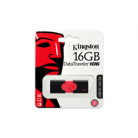 Kingston Technology DataTraveler 106 16GB 3.0 (3.1 Gen 1) Numero di grucce Nero, Rosso unità flash USB