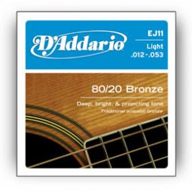 D'Addario EJ11 corda per strumenti musicali Chitarra Acciaio Acustico 6 pezzo(i)