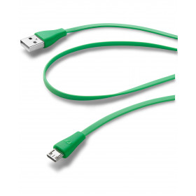 Cellularline USB Data Cable Color - Micro USB Cavo dati colorato e in materiale antigroviglio Verde