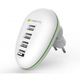 Techly Alimentatore USB 4 porte 2,5A Smartphone/Tablet Bianco (IPW-USB-4PWH)