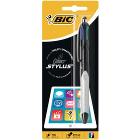 BIC 4 colours balpen en Stylus 2 in 1, verpakt op blister Nero, Blu, Verde, Rosso Clip-on retractable ballpoint pen 1 pezzo(i)