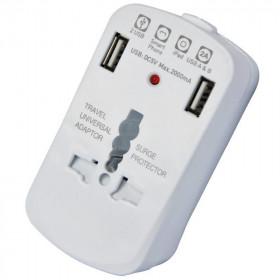 Techly Adattatore Universale da Viaggio da 2A per Prese Elettriche 2 USB (IPW-ADAPTER6)