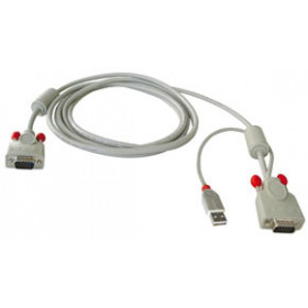 Lindy Combined KVM cable, 2m cavo per tastiera, video e mouse Grigio