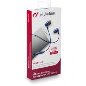 Cellularline Voice In Ear - Universale Auricolari perfect fit in-ear Blu