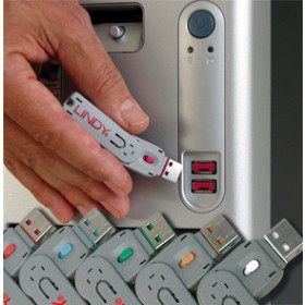 Lindy USB Port Blocker - Pack 4, Colour Code: Green sistema di sicurezza e controllo
