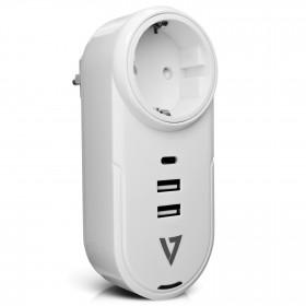 V7 1 presa rotante da viaggio con scaricatore di sovratensione 400J con USB-C