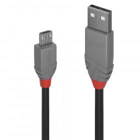 Lindy Anthra Line cavo USB 2 m 2.0 USB A Micro-USB B Nero, Grigio