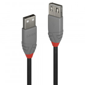Lindy 36703 cavo USB 2 m USB A Nero, Grigio