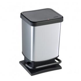Rotho 1754010264 bidone per la spazzatura 20 L Rettangolare Metallo, Plastica Nero, Argento