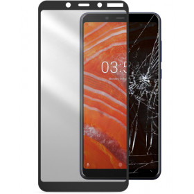 Cellularline Second Glass Capsule - Nokia 3.1 Plus Vetro temperato resistente con cornice Trasparente. Nero