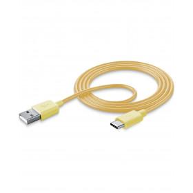 Cellularline USB CABLE #STYLECOLOR - Type-C Cavo per la ricarica e sincronizzazione dei dati colorato Giallo