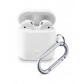 Cellularline Bounce - AirPods 1&2 Custodia per AirPods in silicone soft-touch con gancio Bianco