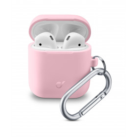 Cellularline Bounce - AirPods 1&2 Custodia per AirPods in silicone soft-touch con gancio Rosa