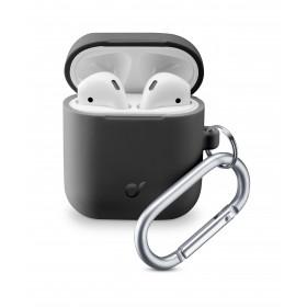Cellularline Bounce - AirPods 1&2 Custodia per AirPods in silicone soft-touch con gancio Nero