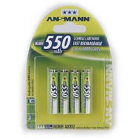 Ansmann Blister 4 X Accu, AAA, 550 mAh AAA / HR03 Nichel-Metallo Idruro (NiMH)