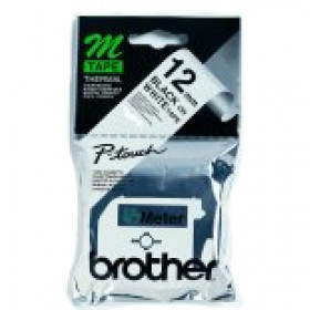 Brother Labelling Tape - 12mm, Black/White, Blister nastro per etichettatrice M