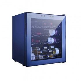 VINUMDesign Cantinetta vini da 19 bottiglie VD19SMC2; 1 temp.da +5/18°C; luce interna a LED Blu; porta vetro a specchio; 3 cassetti e Doga cromati. Classe A